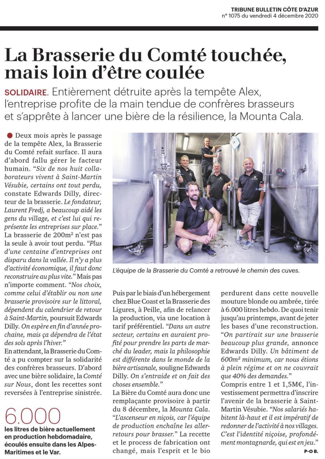 Article » la Brasserie du Comté touchée, mais loin d'être coulée » La Tribune – 04/12/2020